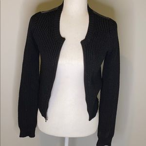 Black Theory Wool/Leather Sweater